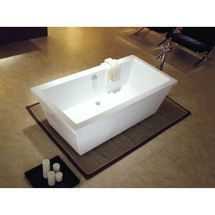 Dyconn Faucet Matera Bathroom Freestanding Contemporary Acrylic Bathtub, Glossy White 66 in