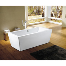 Dyconn Faucet Urbino Bathroom Freestanding Contemporary Acrylic Bathtub, Glossy White 67 in
