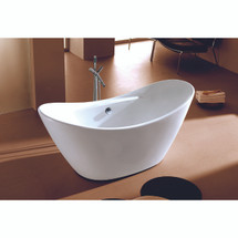 Dyconn Faucet Siena Bathroom Freestanding Contemporary Acrylic Bathtub, Glossy White 68 in