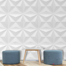 Luxorware 3D Wall Panel Pack of 12 Tiles 32 sqf CE Certified White PVC Panel For TV Walls/Bedroom/Living room (LW3D803)