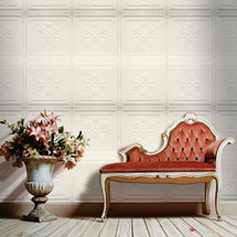 Luxorware 3D Wall Panel Pack of 12 Tiles 32 sqf CE Certified White PVC Panel For TV Walls/Bedroom/Living room (LW3D850)