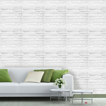 Luxorware 3D Wall Panel Pack of 12 Tiles 32 sqf CE Certified White PVC Panel For TV Walls/Bedroom/Living room (LW3D878)