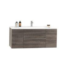 """Dyconn Faucet Modica VC120W48 48"""" Wall Hung Floating Mount Bathroom Vanity W/One Piece Solid Surface/Stone Resin Countertop Basin (Vanity w/Basin) …"""