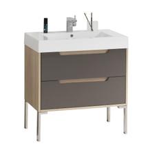 "Dyconn Faucet VCA80W32 Bologna 32"" Bathroom Vanity W/One Piece Solid Surface/Stone Resin Countertop Basin (Vanity & Basin)"