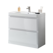 """Dyconn Faucet Anzio 36"""" Freestanding Bathroom Vanity W/One Piece Solid Surface/Stone Resin Countertop Basin (Vanity & Basin)"""