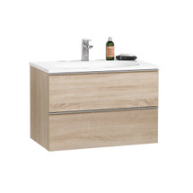 """Dyconn Faucet Turin VCR75W30 30"""" Wall Hung Floating Mount Bathroom Vanity W/One Piece Solid Surface/Stone Resin Countertop Basin"""
