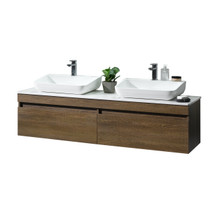 """Dyconn Faucet VCY160W63 Rovigo 63"""" Wall Hung Floating Mount Bathroom Vanity W/Quartz Countertop & Solid Surface/Stone Resin Vessel Sink"""