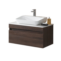 """Dyconn Faucet VCY80W32 Trani 32"""" Wall Hung Floating Mount Bathroom Vanity W/Quartz Countertop & Solid Surface/Stone Resin Vessel Sink"""