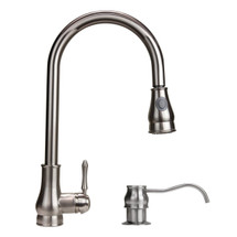 Dyconn Coral 18-Inch Modern Single Handle Pull Out Dual Spray Kitchen Faucet with matching Soap Dispenser (Brushed Nickel)