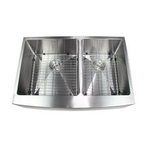 BOANN Hand Made Skirt Front R15 60/40 Double Bowl 33 x 22 1/4-Inch Undermount 304 Stainless Steel Kitchen Sink, 16-Gauge