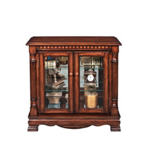 Gilby Transitional Glass Curio In Cherry Finish