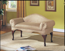 Aston Microfiber Rolled Arm with Back Bench, Beige Finish
