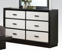 Debora Six Drawer Dresser in Black/White
