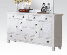 Dresser with Louvered Details in White