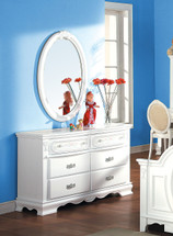 Flora Oval Mirror, White Finish