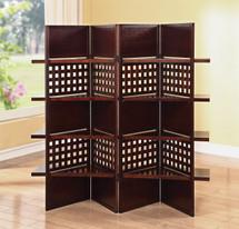 4-panel Wooden Screen With Shelf Board