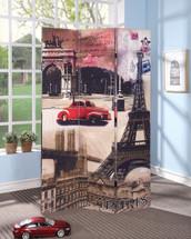 Trudy 3-Panel Wooden Screen, Paris Scenery