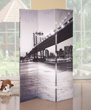 Trudy 3-Panel Wooden Screen, Bridge Scenery