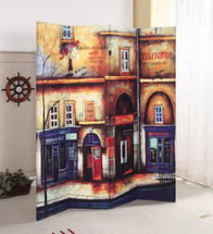 Trudy 4-Panel Wooden Screen, Scenery