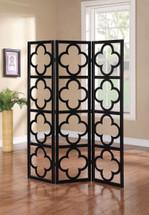 Alson 3-Panel Wooden Screen, Black