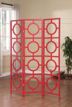 Dene 3-Panel Wooden Screen, Red