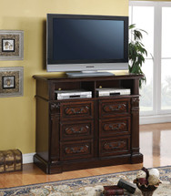 Roman Empire TV Console, Dark Cherry Finish