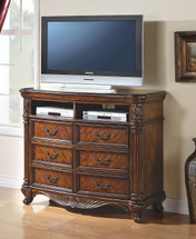Remington TV Console, Brown Cherry Finish