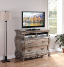 Chantelle TV Console in Antique Silver Finish