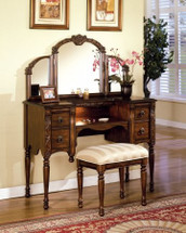 2-Piece Ashton Vanity Set with Bench, Oak Finish