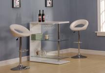 Chic Modern White & Chrome Finish Bar table