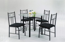 5-Piece Dining Set, Black Finish