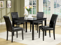 5Pc Pack Dining Set, Black Faux Marble Top