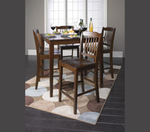 5-Piece Donnie Counter Height Dining Set, Walnut Finish