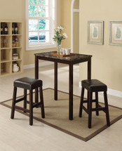 3-Piece Pack Counter Height Dining Set, Black Faux Marble Top