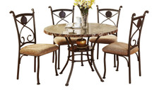 5-Piece Dining Set, Faux Marble Top
