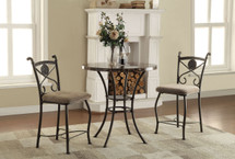 3-Piece Pack Counter Height Dining Set, Faux Marble Top