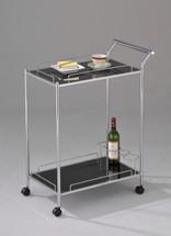 Mace Chrome Plated W/black Serving Cart Set