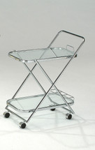Mace Chrome Plated With Black Tempered Glass Serving Cart