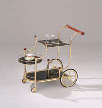 Mace Golden Plated With Black Tempered Glass Serving Cart