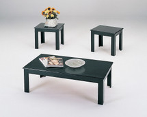 3-Piece Calico Coffee/End Table Set, Black