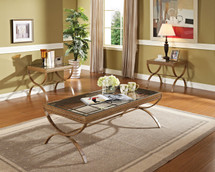 3-Piece Quintin Coffee/End Table Set, Gold Finish
