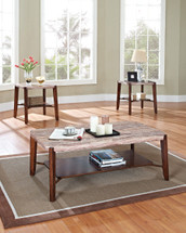 3-Piece Nadav Faux Marble Top Coffee/End Table Set