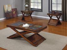 3-Piece Benicia Coffee/End Table Set, Dark Oak and Slate Finish