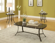 3 piece Black Faux Marble Top Occasional Tables Set