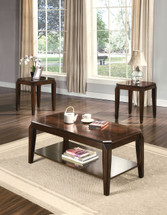 3Pc Pack Walnut Coffee/End Table Set