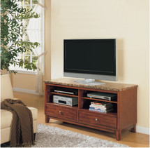 Bologna Brown Marble Top TV Stand, Cherry Finish