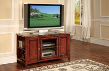 Finely Faux Marble Top TV Stand, Cherry Finish