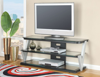 Bardick Tv Stand W Clear Tempered Glass Top Luxor Essential