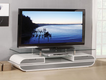 Chic Modern Silver Finish with Glass Top TV Stand