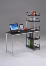 Home Office Computer Desk With Shelves Chrome Plated Black